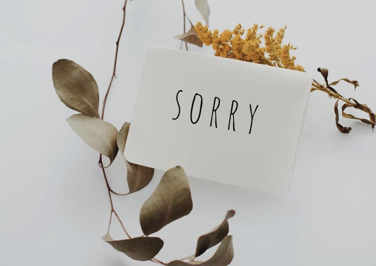 Messaggio di richiesta di perdono
